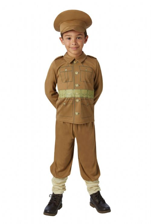 Boys WW1 Soldier Costume WWI Book Day Fancy Dress Outfit